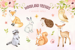 Woodland Animals Watercolor Clipart - 2