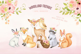 Woodland Animals Watercolor Clipart Graphic Illustrations By SipkaDesigns 6