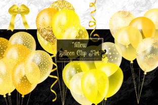 Print on Demand: Yellow Balloons Clipart Graphic Illustrations By Digital Curio