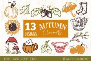 Print on Demand: Autumn Cliparts 13 Designs Fall SVG Graphic Crafts By BlackCatsMedia