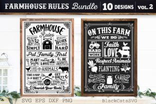 Print on Demand: Farmhouse Rules Bundle SVG Farm Posters Graphic Crafts By BlackCatsMedia