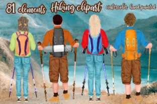 Print on Demand: Hiking Clipart, Couple Hiking Clipart Graphic Illustrations By LeCoqDesign