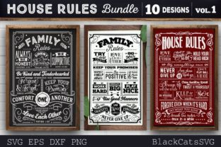 Print on Demand: House Rules Bundle SVG 10 Designs Graphic Crafts By BlackCatsMedia 1