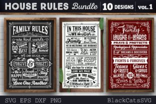 Print on Demand: House Rules Bundle SVG 10 Designs Graphic Crafts By BlackCatsMedia 2