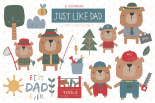 Print on Demand: Just Like Dad Clipart Set Graphic Illustrations By poppymoondesign