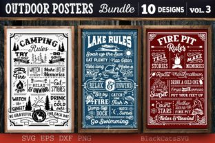Print on Demand: Outdoor Posters Bundle SVG Camping SVG Graphic Crafts By BlackCatsMedia