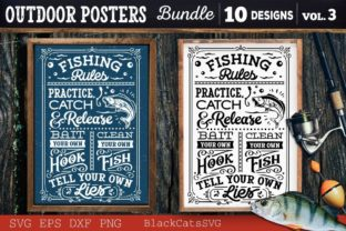 Print on Demand: Outdoor Posters Bundle SVG Camping SVG Graphic Crafts By BlackCatsMedia 3