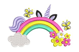Print on Demand: Rainbow with Flowers and Unicorn Fairy Tales Embroidery Design By ArtEMByNatali