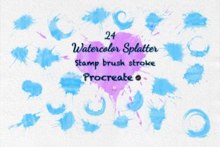 Print on Demand: Stamp Brush Procreate Watercolor Stroke Graphic Brushes By idelotama