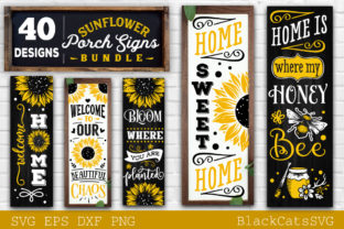 Print on Demand: Sunflower Porch Signs SVG Graphic Crafts By BlackCatsMedia 1