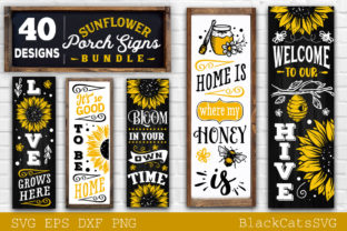 Print on Demand: Sunflower Porch Signs SVG Graphic Crafts By BlackCatsMedia 4
