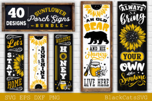 Print on Demand: Sunflower Porch Signs SVG Graphic Crafts By BlackCatsMedia 5