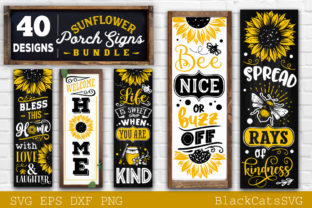 Print on Demand: Sunflower Porch Signs SVG Graphic Crafts By BlackCatsMedia 6