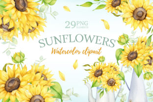 Watercolor Boho Sunflower Clipart Graphic Illustrations By anastasiasilim
