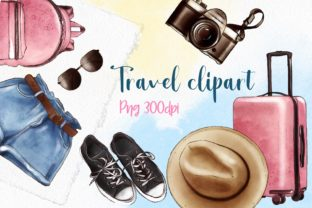 Watercolor Travel Clipart, Vacation Art Graphic Illustrations By Arte de Catrin 1