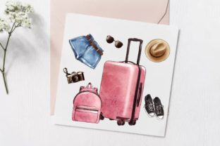 Watercolor Travel Clipart, Vacation Art Graphic Illustrations By Arte de Catrin 3