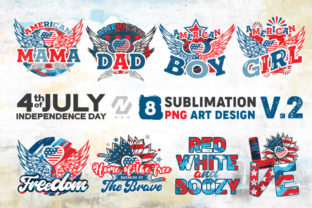 Print on Demand: 4th of July PNG Art Sublimation Bundle Graphic Illustrations By nesdigiart 1