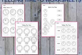 8 - Telling Time/O'Clock Worksheets Graphic K By WorksheetsWithFun