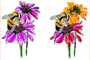 Bee Watercolor and Flowers, Sublimation Graphic Illustrations By AlaBala