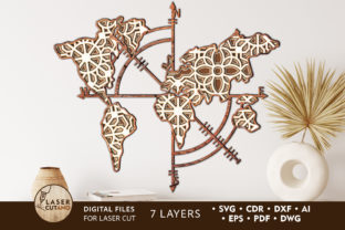 Print on Demand: COMPASS MAP Multilayer Laser Cut Files Graphic 3D SVG By LaserCutano