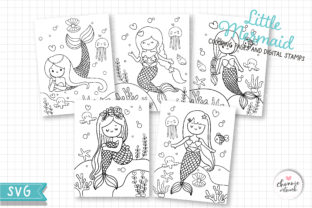 Print on Demand: Mermaid Coloring Pages, Digital Stamps Graphic Illustrations By Chonnieartwork