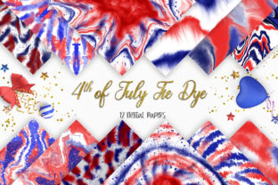 Print on Demand: 4th of July Tie Dye Digital Papers Graphic Backgrounds By PinkPearly 1