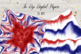 Print on Demand: 4th of July Tie Dye Digital Papers Graphic Backgrounds By PinkPearly 2