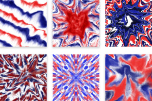 Print on Demand: 4th of July Tie Dye Digital Papers Graphic Backgrounds By PinkPearly 4