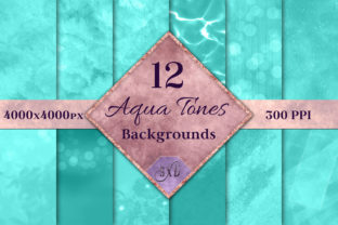 Print on Demand: Aqua Tones Backgrounds Graphic Backgrounds By SapphireXDesigns