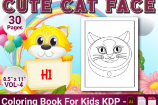 Print on Demand: Cat Face Coloring Pages for Kids Vol-4 Graphic Coloring Pages & Books Kids By Simran Store