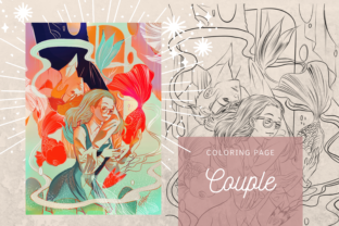 Print on Demand: Couple Manga Illustration Coloring Page Graphic Coloring Pages & Books By meisanmui