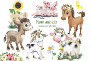 Farm Animals Clipart, Cow, Donkey, Goat Graphic Add-ons By EvArtPrint 1