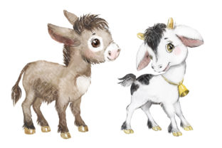 Farm Animals Clipart, Cow, Donkey, Goat Graphic Add-ons By EvArtPrint 3