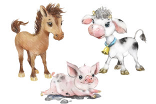Farm Animals Clipart, Cow, Donkey, Goat Graphic Add-ons By EvArtPrint 4