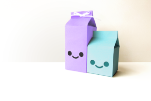 Milk Carton Boxes with Kawaii Face SVG Graphic 3D Shapes By RisaRocksIt