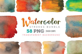 Print on Demand: Watercolor Stroke Painting PNG Bundle Graphic Illustrations By nesdigiart