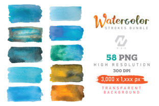 Print on Demand: Watercolor Stroke Painting PNG Bundle Graphic Illustrations By nesdigiart 2