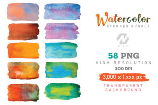 Print on Demand: Watercolor Stroke Painting PNG Bundle Graphic Illustrations By nesdigiart 3