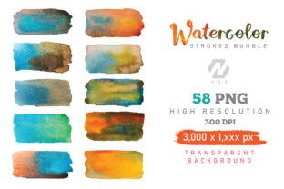 Print on Demand: Watercolor Stroke Painting PNG Bundle Graphic Illustrations By nesdigiart 4