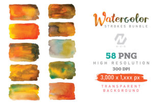 Print on Demand: Watercolor Stroke Painting PNG Bundle Graphic Illustrations By nesdigiart 5