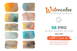 Print on Demand: Watercolor Stroke Painting PNG Bundle Graphic Illustrations By nesdigiart 6