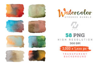 Print on Demand: Watercolor Stroke Painting PNG Bundle Graphic Illustrations By nesdigiart 7