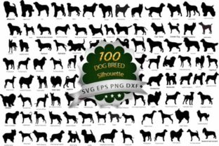 Print on Demand: 100 Dog Breeds Silhouette Bundle Graphic Crafts By MosdiStudioTemplate