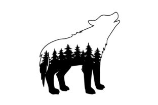 Wolf Outline with Forest Silhouette Nature & Outdoors Craft Cut File By Creative Fabrica Crafts