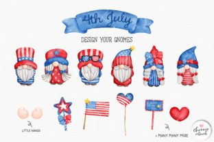 Print on Demand: 4th of July Gnome Clipart, Patriotic PNG Graphic Illustrations By Chonnieartwork 2