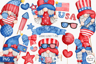 Print on Demand: 4th of July Gnome Clipart, Patriotic PNG Graphic Illustrations By Chonnieartwork