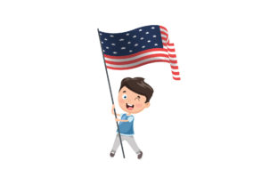 4th of July | Child Carrying a Flag Graphic Illustrations By zia studio