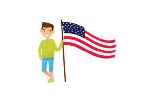 4th of July with Flags of the USA Graphic Illustrations By zia studio