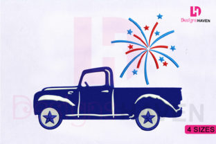 Print on Demand: American Fireworks Car Independence Day Embroidery Design By DesignsHavenLLC