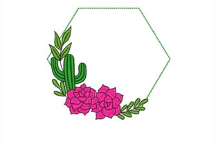 Cactus Frame Floral Wreaths Embroidery Design By NinoEmbroidery